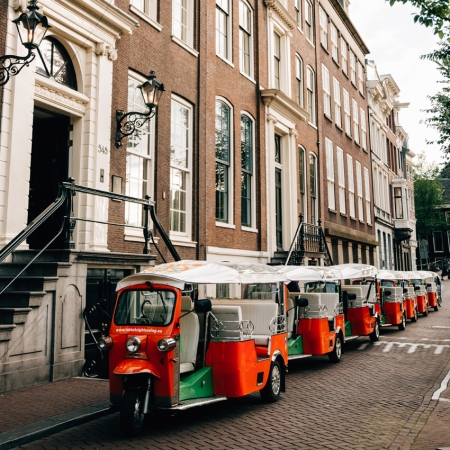 Tuk Tuk rally in the streets of Amsterdam