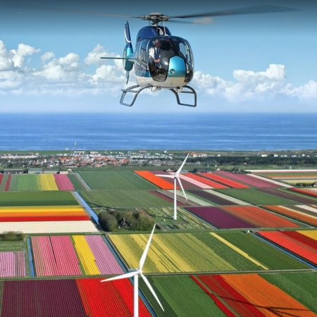 A helicopter flight above Amsterdam