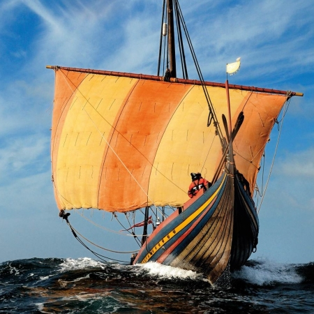Sailing like the old Vikings - Start your Viking experience the ancient town of Roskilde, former capital of Denmark and visit the spectacular Viking Ship Museum.  Outside the museum, you will find the Museum Island with an archeology workshop and a working Viking boatyard, where master artisans make replicas of Viking-age wooden boats and longboats. As a very special experience, you can become a working crewmember on one of the replica Viking ships for a cruise on Roskilde Fjord.