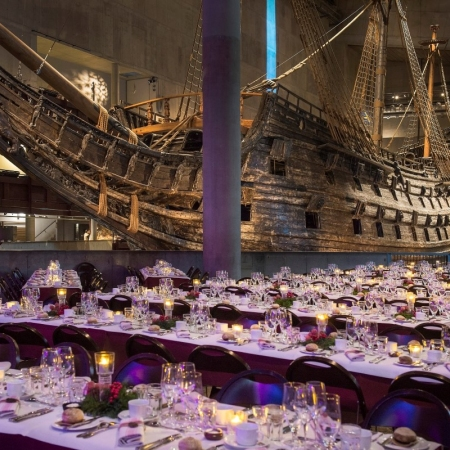 Unforgettable evening at VASA Museum (exclusive). A truly unique experience- leaving you with everlasting memories. To have dinner inside the Ship Hall, next to the warship Vasa is something you don't want to miss. It is the ultimate experience of Swedish history combined with the finest food and drinks. If you wish to give your guests a night to remember, then Vasa is your answer!