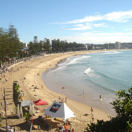 Excellent beaches in Sydney, such as Manly Beach and Bondi Beach.