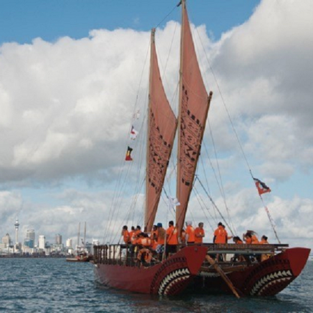 """Maori Waka sailing and Cross-Culture experience.  Meet your special Maori hosts for a sail on a """"Waka.""""  Polynesians, including Maori trace their origins to their canoe."""