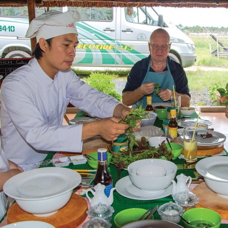 We take delegates out from the city to the HCM Agricultural Village, where they learn about local farming methods.