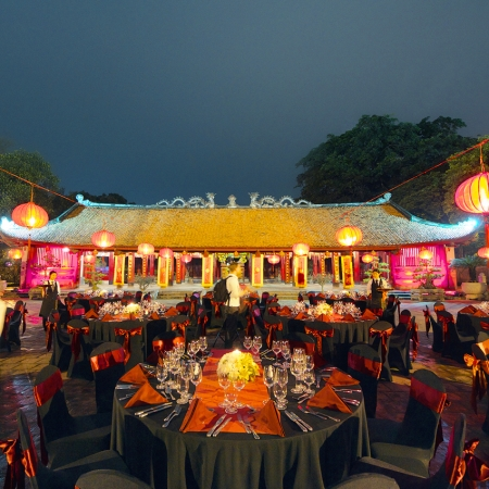 Enjoy a gala dinner at the ancient Temple of Literature in Hanoi.