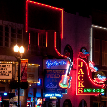 Honky Tonk Highway or Lower Broadway is the Nashville nightlife experience.