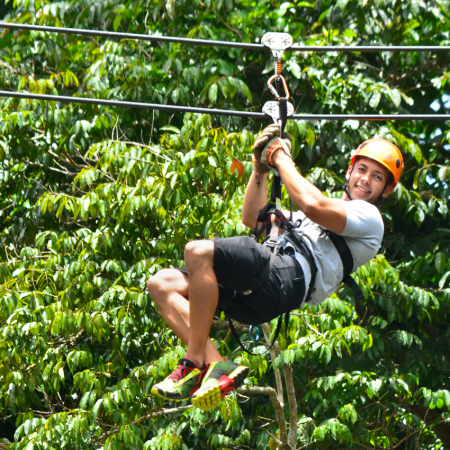 Canopy Tour:  Exhilarating adventure to offer unique views! Soar over lush rainforest terrain suspended high above the floor.