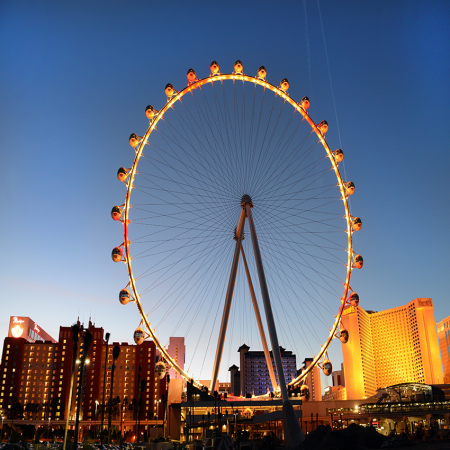 View the city of Las Vegas from the 550-foot tall High Roller located at The LINQ Promenade.