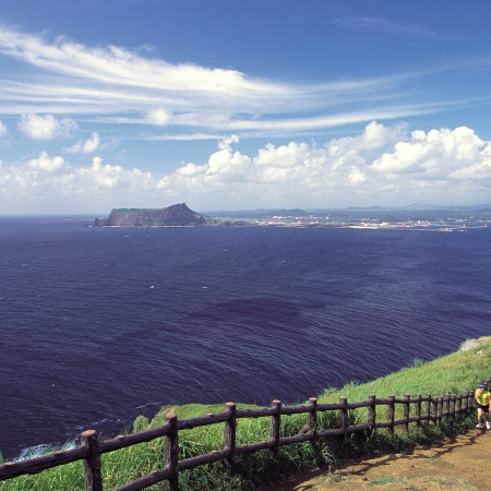 Enjoy the coastal view from the edge of the Seopjikoji in Jeju.