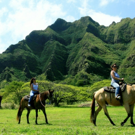 In Oahu – Kualoa Ranch Adventure Tours include horseback riding, ATVs, zip lines, and jungle and movie tours