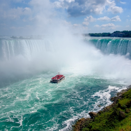Hornblower Niagara Cruises offers thrilling boat tours to the base of the Horseshoe Falls