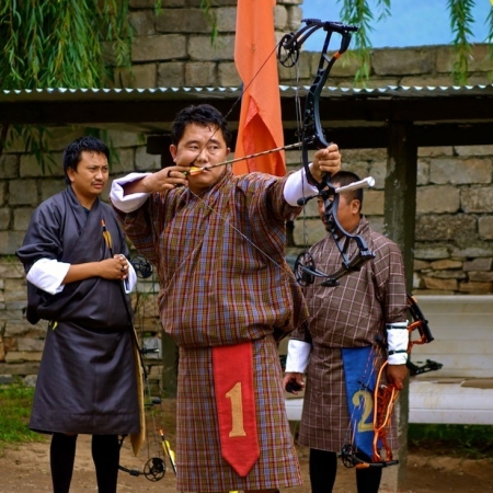 Archery in Paro valley (Archery is national sport of Bhutan)
