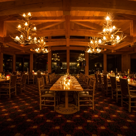 Enjoy a cozy intimate dinner in a mountain lodge.