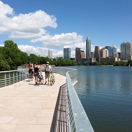Brand new 1.3 mile boardwalk for walking, biking and runs along Lady Bird Lake.