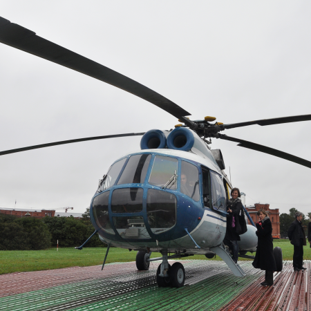 Helicopter ride above St. Petersburg city center.