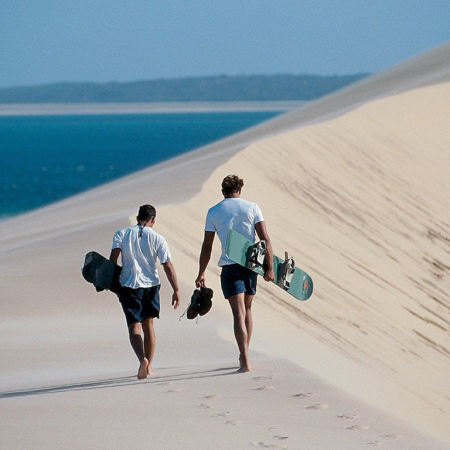 Dune boarding on Bazaruto Island's spectacular high sand dunes