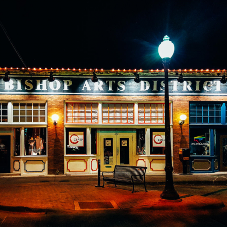 Shop, dine, and explore the quaint Bishop Arts District.